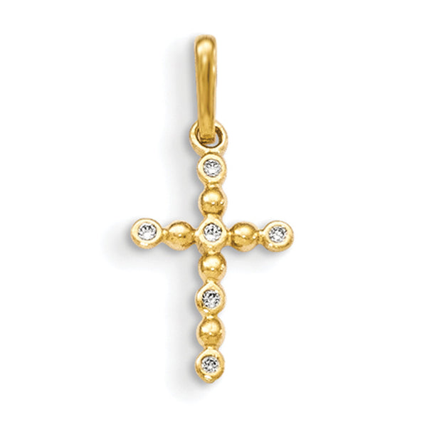 14kt Yellow Gold Beaded Stem with Bezel CZ Stones Girls Cross Pendant