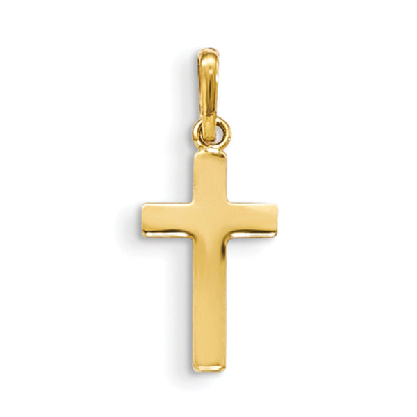 14kt Yellow Gold 20mm Christian Cross Girls Pendant
