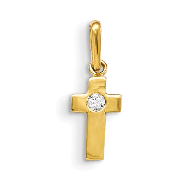 14kt Yellow Gold Christian Cross with CZ Center Accent Girls Pendant