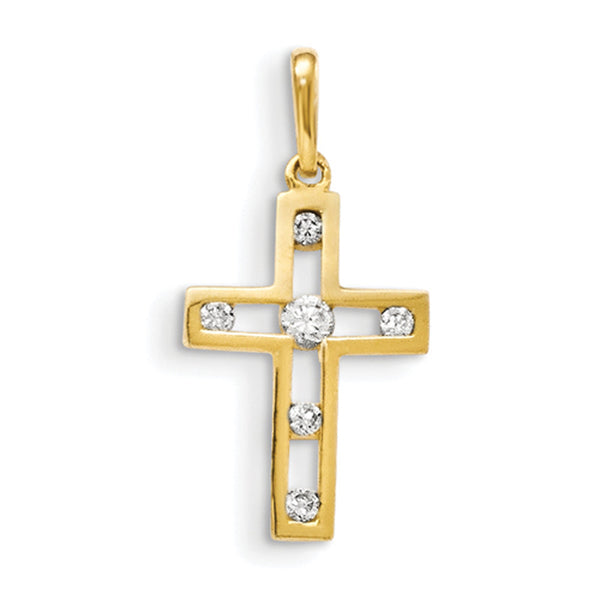 14kt Yellow Gold 22mm Hollow Cross with CZ Accent Girls Pendant