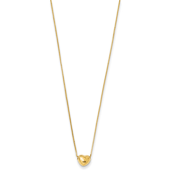 14kt Yellow Gold 16 Inch Dimensional Heart Charm Girls Necklace