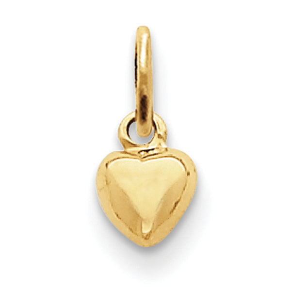 14kt Yellow Gold Solid Petite Swelling Heart Girls Pendant