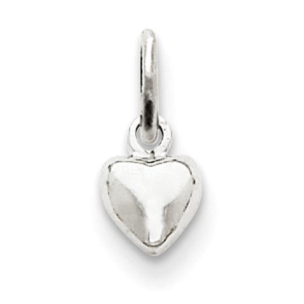 14kt White Gold Solid Swelling Heart Girls Pendant