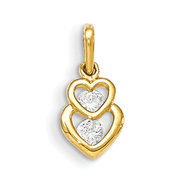 14kt Yellow Gold CZ Accented Dripping Heart Shaped Girls Pendant
