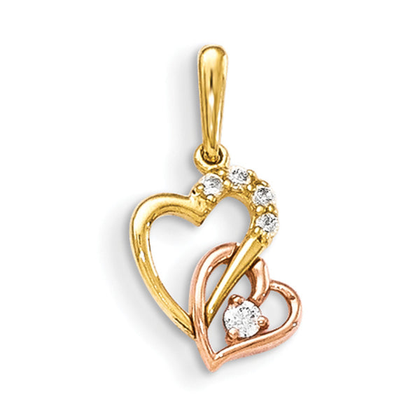 14kt Yellow Gold Two Tone Twin Curved Heart with CZ Stone Girls Pendant