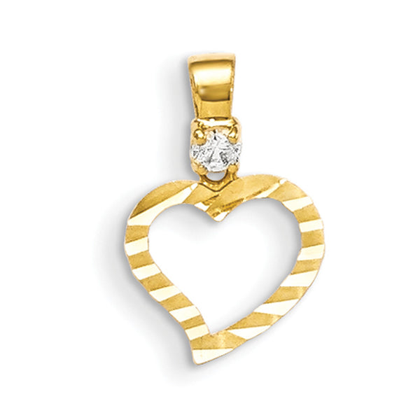 14kt Yellow Gold Diamond Cut Hollow Heart Shaped Girls Pendant