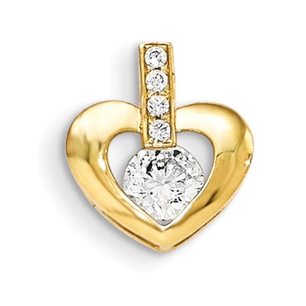 14kt Yellow Gold CZ Centered Hollow Swelling Heart Girls Pendant