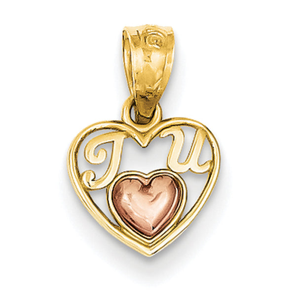 14kt Yellow Gold Two Tone Cursive Love Message Heart Girls Pendant