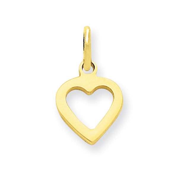 14kt Yellow Gold Smoothed Hollow Heart Girls Pendant