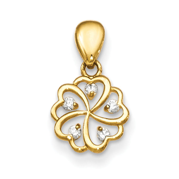 14kt Yellow Gold Hollow Heart Petal Flower with CZ Accent Girls Pendant