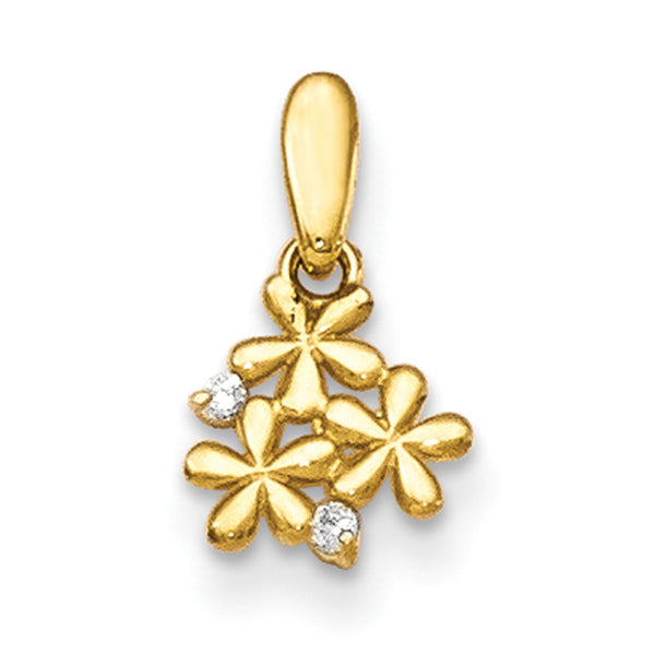 14kt Yellow Gold Flirty Triple Flower with CZ Accent Girls Pendant