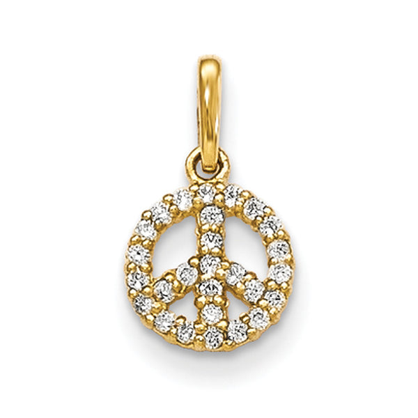 14kt Yellow Gold Peace Medallion with CZ Accent Border Girls Pendant