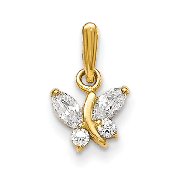 14kt Yellow Gold Prong Set Quadruple CZ Butterfly Girls Pendant