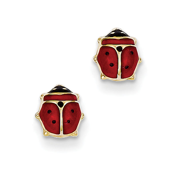 14kt Yellow Gold Red and Black Ladybug Enameled Girls Stud Earrings