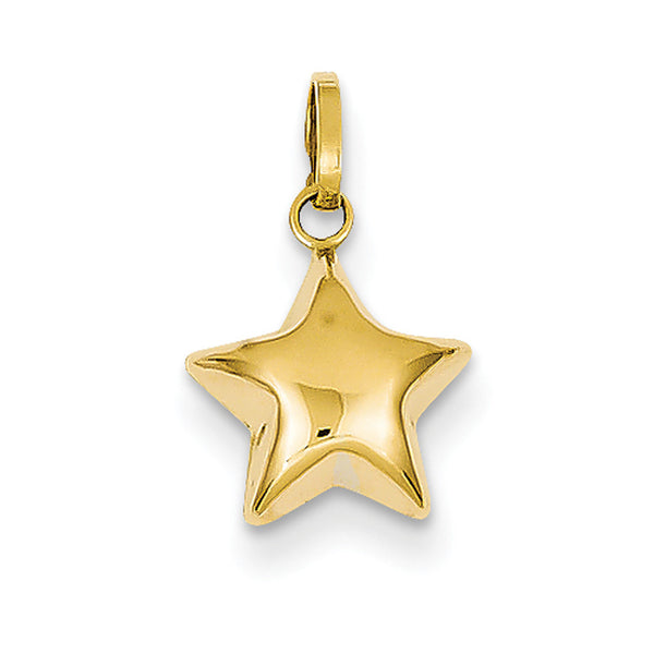 14kt Yellow Gold Polished Grande Puffed Star Girls Pendant