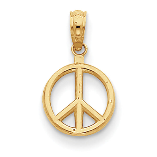 14kt Yellow Gold 11mm Wide Peace Symbol Girls Pendant