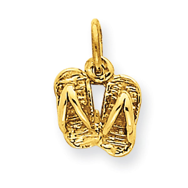 14kt Yellow Gold 12mm Summertime Sandals Girls Pendant