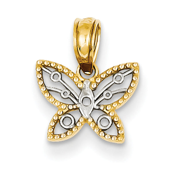 14kt Yellow Gold Two Tone Textured Filigree Butterfly Girls Pendant