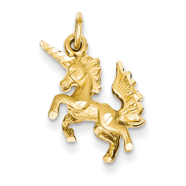 14kt Solid Yellow Gold Carousel Unicorn Dimensional Girls Pendant