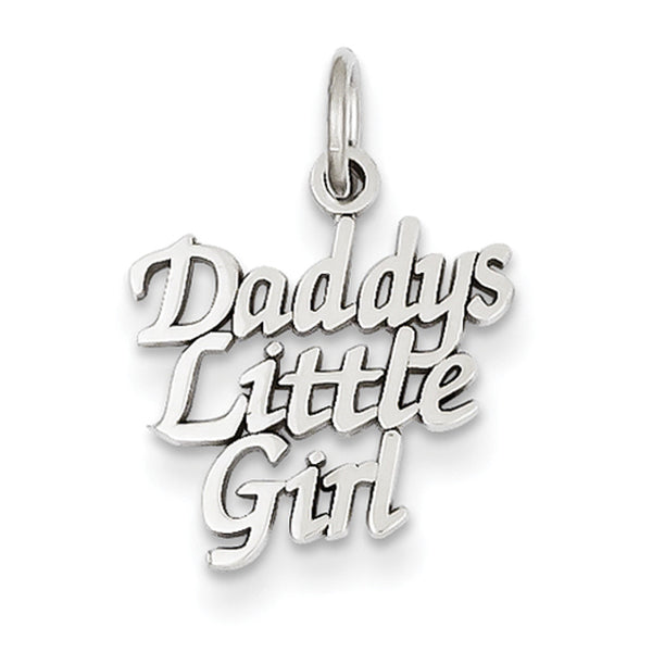 14kt White Gold 17mm Curled Print Daddy's Little Girl Girls Pendant