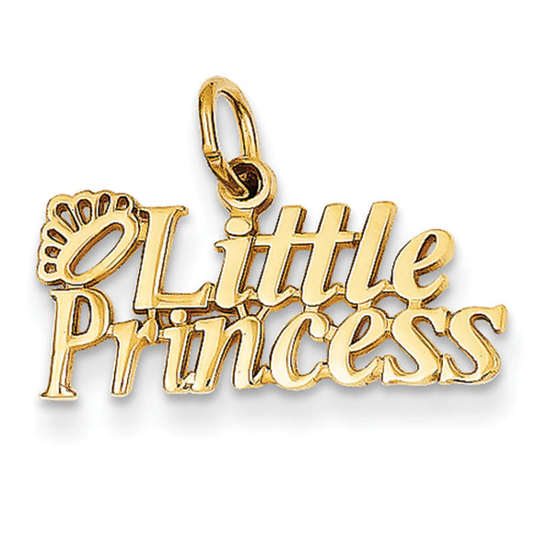 14kt Yellow Gold Crowned Little Princess Girls Pendant