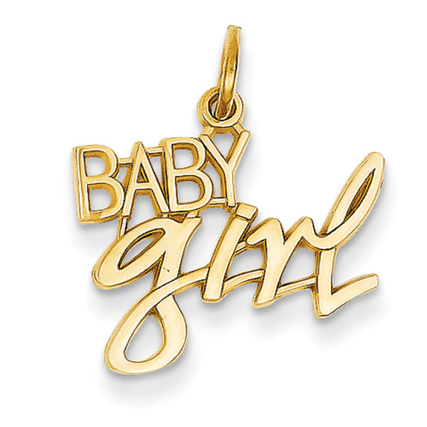 14kt Yellow Gold Sleek Baby Girl Girls Pendant