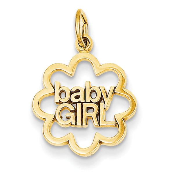 14kt Yellow Gold Scalloped Edge Baby Girl Girls Medallion Pendant