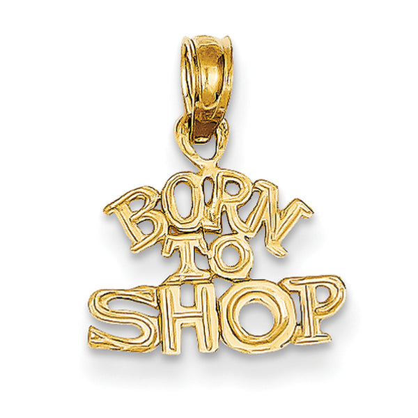 14kt Yellow Gold Textured Born to Shop Girls Pendant