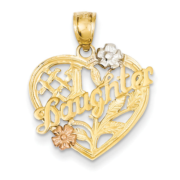14kt Yellow Gold Three Toned Heart Shaped No. 1 Daughter Girls Pendant