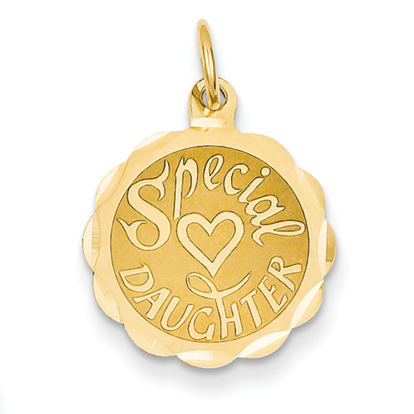 14kt Yellow Gold Scalloped Edge Special Daughter Girls Pendant