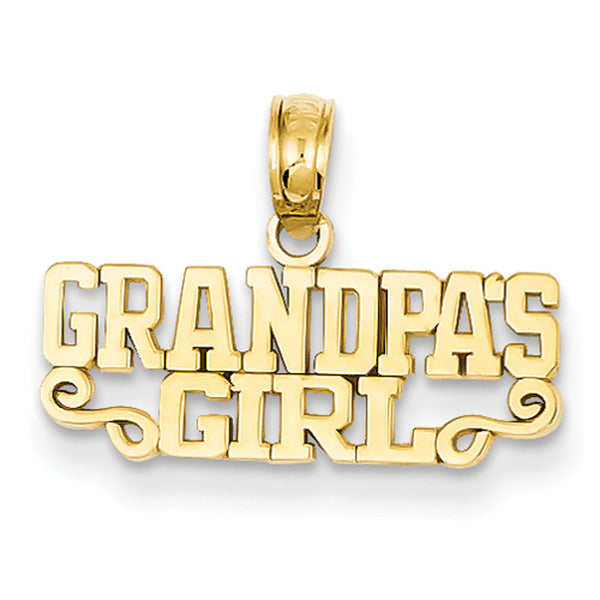 14kt Yellow Gold Polished Grandpa's Girl Printed Girls Pendant