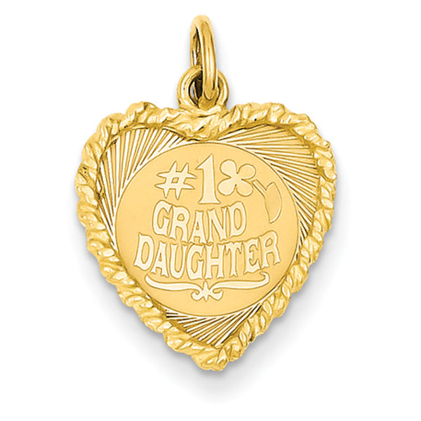 14kt Yellow Gold No. 1 Grand Daughter Vined Heart Girls Pendant