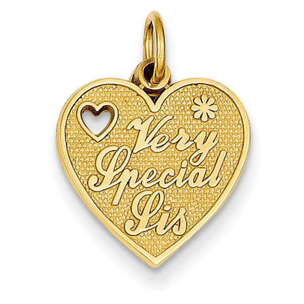 14kt Yellow Gold Heart Shaped Very Special Sis Girls Pendant