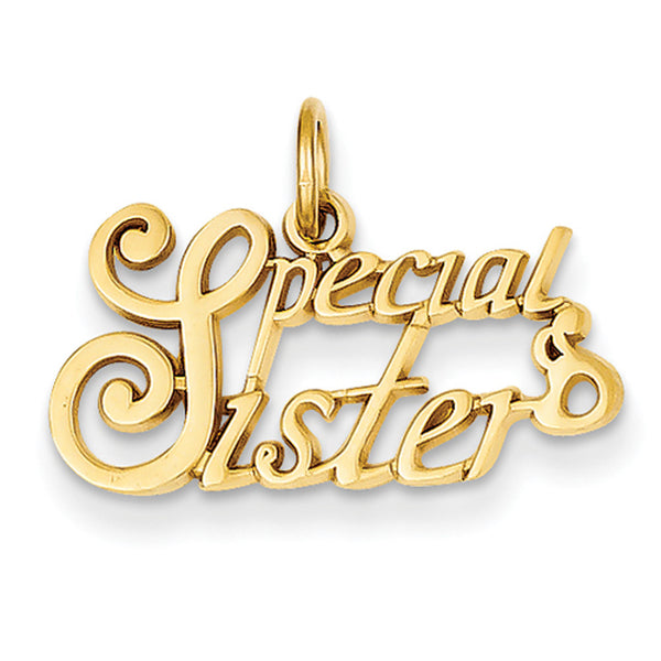 14kt Yellow Gold Cursive Special Sister Girls Pendant