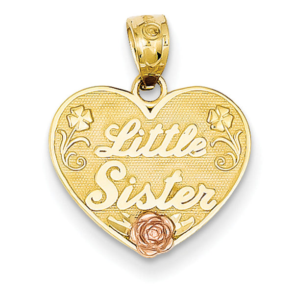 14kt Yellow Gold Floral Accent Little Sister Heart Shaped Girls Pendant