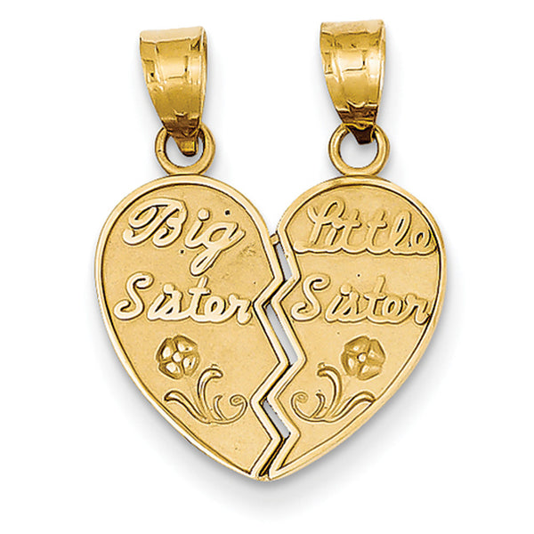 14kt Yellow Gold Big and Little Sister Break Apart Girls Pendant