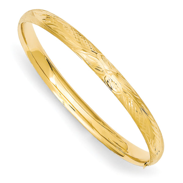 14kt Yellow Gold Florentine Style 5mm Wide Baby Bangle Bracelet