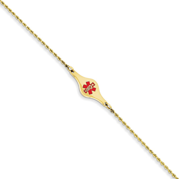 14kt Yellow Gold Enameled Rope Chain Rounded Medical ID Girls Bracelet