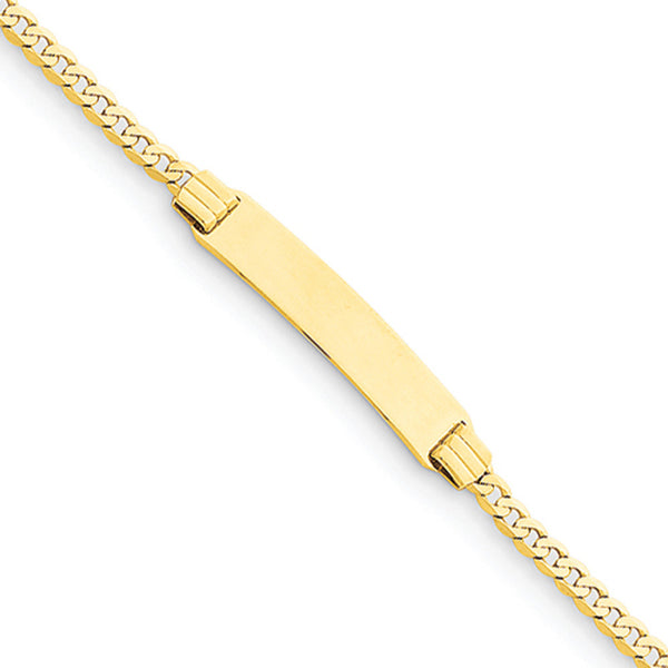 14kt Yellow Gold Plain Curb Chain 29mm ID Plate Girls Bracelet