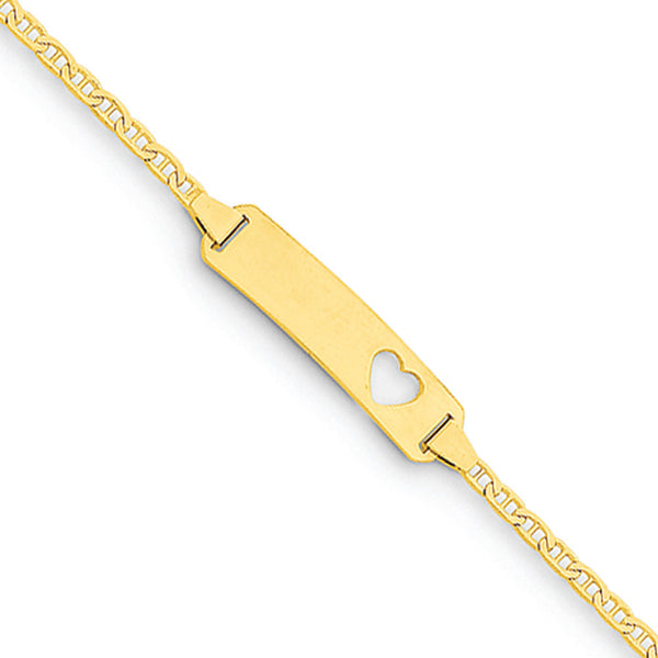 14kt Yellow Gold Engravable Plate with Heart Cut Out Girls ID Bracelet