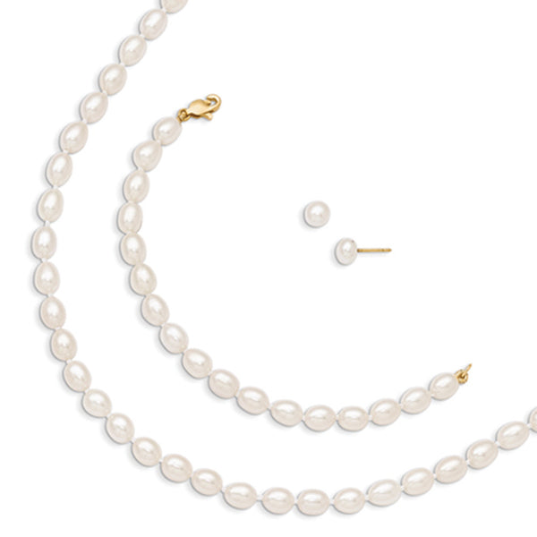 14kt Gold 5.5mm Freshwater Pearl Girls Necklace Bracelet Earrings Set