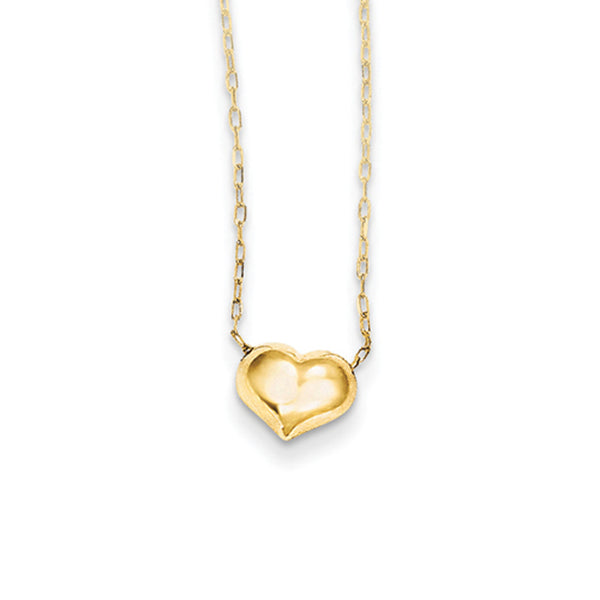 14kt Yellow Gold 16 Inch Inflated Polished Heart Girls Necklace