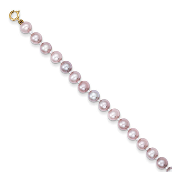 14kt Yellow Gold 5.25 Inch Simulated Pink Pearl Girls Bracelet