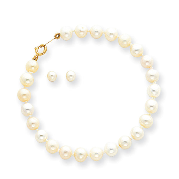 14kt Yellow Gold 2.5mm Creamy Pearl Girls Stud Earrings Bracelet Set
