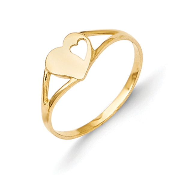 14kt Yellow Gold Hollow Heart Accented Girls Ring Size2-3
