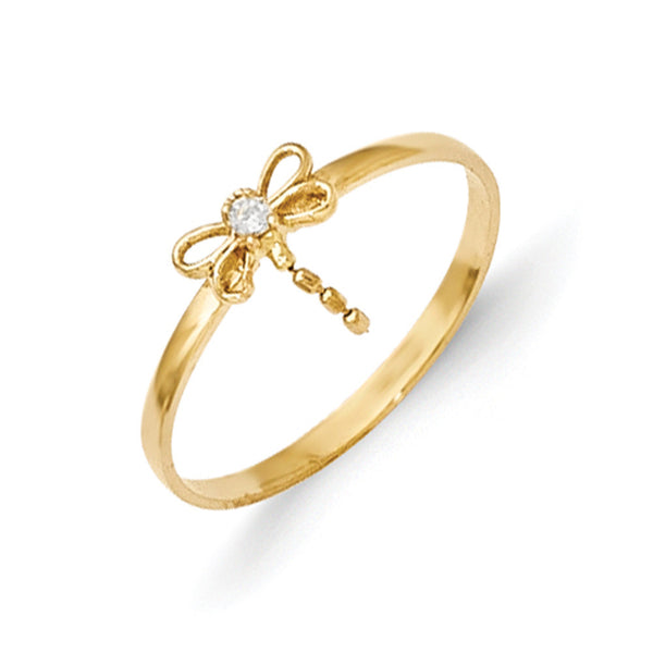 14kt Yellow Gold Dragonfly with Prong Set CZ Stone Girls Ring Size2-3
