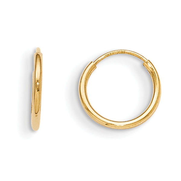14kt Yellow Gold 10mm Continuous Hoop Girls Earrings