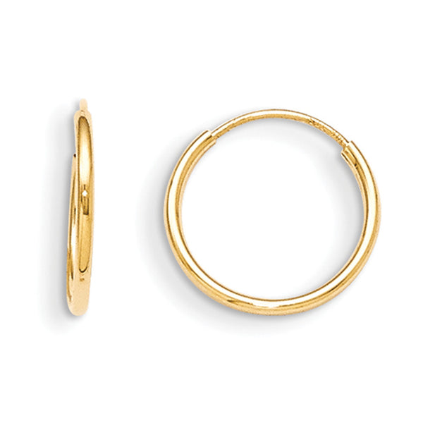 14kt Yellow Gold 12mm Continuous Hoop Girls Earrings