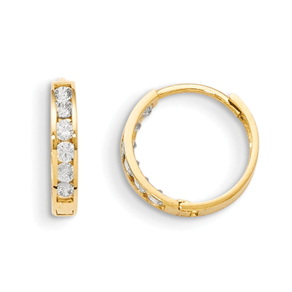 14kt Yellow Gold CZ Stone Queue 11mm Hinged Girls Hoop Earrings