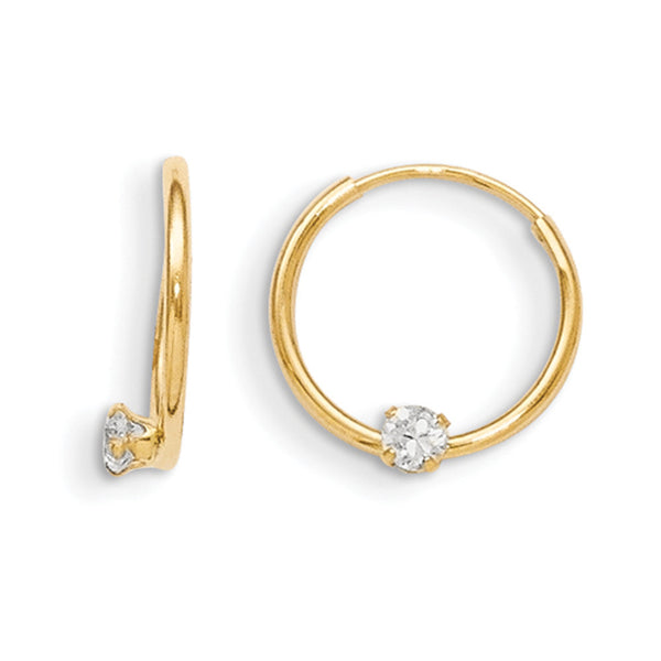 14kt Yellow Gold Solitary CZ Stone 11mm Girls Hoop Earrings